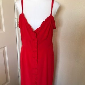 Topshop strappy floor length button down dress 10